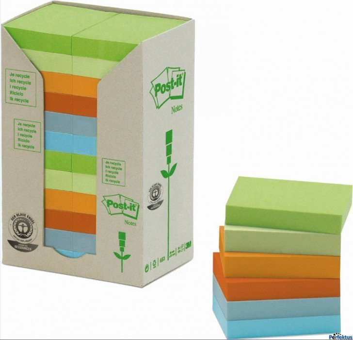 Bloczki EKO 3M POST-IT 653-1RPT 38x51 mix pastel 24bl x 100k FT51011039