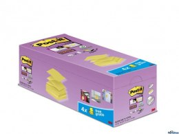 Bloczek samoprzylepny POST-IT_ Super sticky Z-Notes (R330-SSCY-VP20), 76x76mm, 16x90 kart., zółty, 4 bloczki gratis